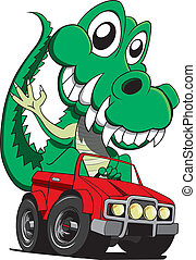 Croc driving - A happy crocodile driving a four wheel drive