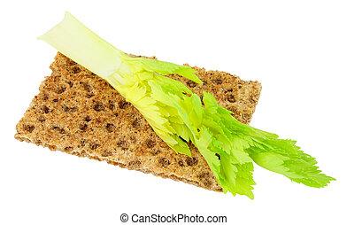 crocante, alimento, dieta, aipo, caloria baixa, pão