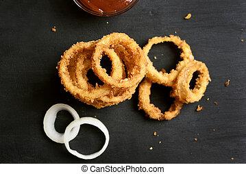 croccante, fritto, anelli, cipolla