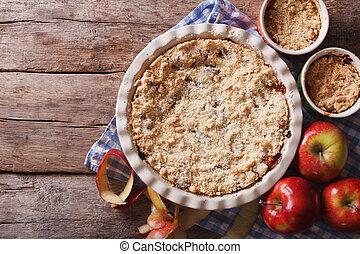 croccante, mela, cima, closeup, cottura, orizzontale,...
