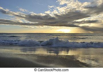 croccante, spiaggia, alba