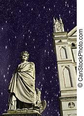 croce, 広場, 星が多い, 上に, santa, 夜, フィレンツェ