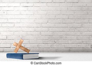 croce, bibbia, cristiano, tavola