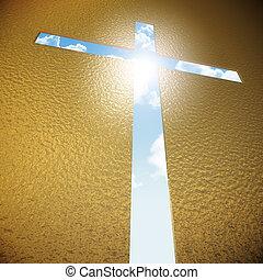 croce, blu, cielo