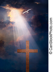 croce, e, cielo drammatico