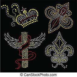 croce, e, corona, ravvivato superfici, collezione