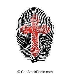 croce, impronta digitale
