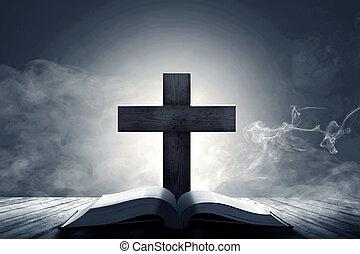 croce, tavola, bibbia, cristiano, legno