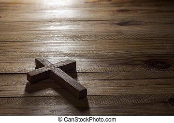 croce, tavola, legno, sopra
