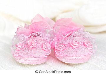croché, bebé, blanket., rosa, blanco, saqueos