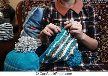 crochet, beanie, laine, chaud, femme