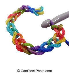 Crochet Chain - Crochet chain in rainbow colored yarn