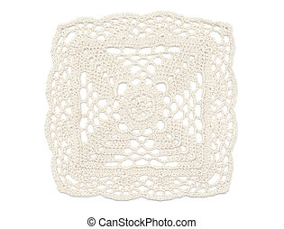 Crochet Doily - White - Square of crochet doily in light...