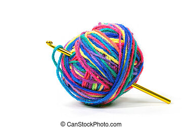 crochet hook in ball of yarn
