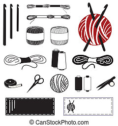 Collection of 20 tools, supplies for crochet, tatting and making lace: crochet hooks, crochet floss and thread, yarn, tape measure, bobbins, thread clips, embroidery scissors, sewing labels.
