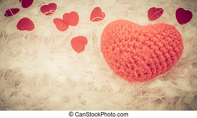 Crochet knit red heart isolated