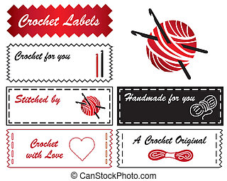 Crochet Labels - Sewing labels with hooks, skeins, balls of...