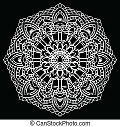Crochet lace mandala. - Vintage handmade knitted doily. ...