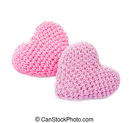 Crochet lovely hearts - Crochet hearts isolated on white....