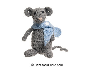 Crochet Mouse, Handmade, White Background. - Grey handmade...