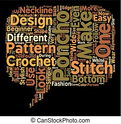 crochet poncho text background wordcloud concept