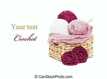 Crochet setting - Crochet and skeins of yarn isolated on...