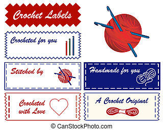 Crochet Sewing Labels with copy space to customize with your...