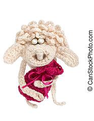 Crochet sheep with Christmas gift bag