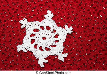 Crochet Snowflake with Red Fabric