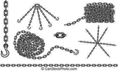crochet, vecteur, ensemble, chaîne