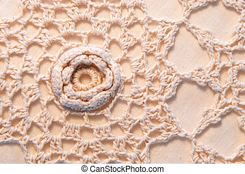 Crochet Yarn Texture - Macro image of crochet yarn on canvas...