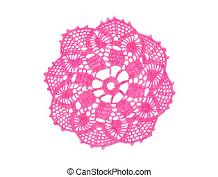 Old-fashioned little pink crocheted doily isolated in white.