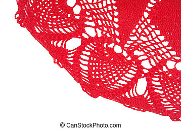 crocheted handmade napkin border isolated on white