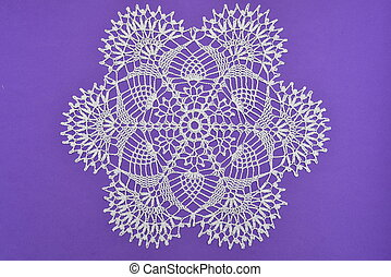 Crocheted lace napkin home decoration on purple