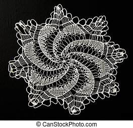 Crocheted lace napkin