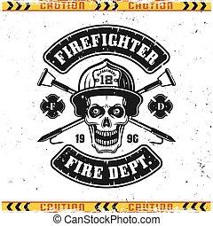crochets, crâne, emblème, pompier, vecteur, brûler