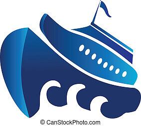 crociera, barca, vettore, logotipo