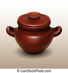 Crock and cap 1 - Realistic vector clay pot with cap,...