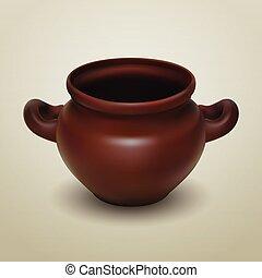 Crock - Realistic vector clay pot, traditional European...