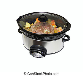 Crock pot with roast beef, isolated - Nice image of a ...