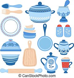 Crockery ceramic cookware. Blue porcelain bowls, dishes and plates. Kitchen tools vector collection