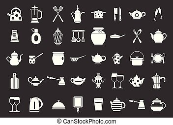 Crockery icon set grey vector