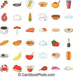 Crockery icons set, cartoon style
