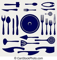 Crockery icons set on grey background