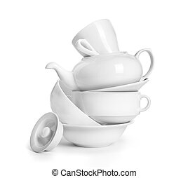 crockery on a white background