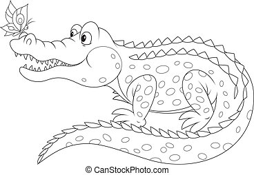 Big alligator with a small butterfly sitting on his nose, vector black-and-white outline on a white background for a coloring book