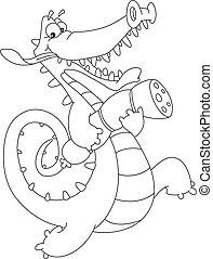 crocodile and sausage outlined - Illustration of a crocodile...