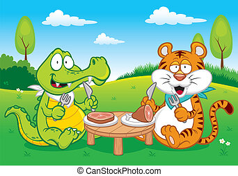 Crocodile and tiger - Vector illustration of Cartoon...