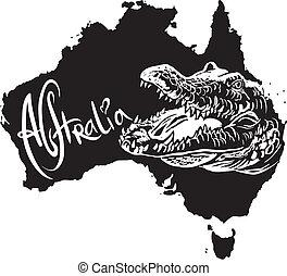 Crocodile as Australian symbol - Crocodile on map of...