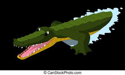 Crocodile Attacks Front View Alpha - Crocodile Attacks Front...